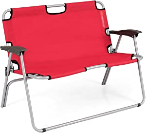 FDInspiration Red 2-Person Seat Folding Outdoor Double Chair Portable Camping Bench Beach Travel Loveseat with Ebook