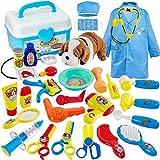 Buyger 28 Pièces Jouet Malette Veterinaire Docteur Chien Jouet Deguisement Enfant Garcon Fille