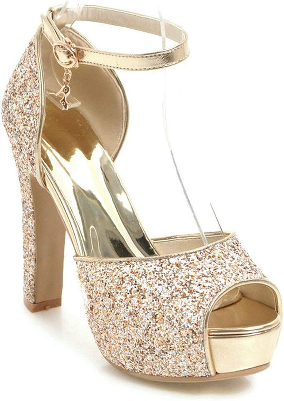 Women Sandals Super Square High Heel Fashion Women shoes Platform Buckle Peep Toe Bling Women Sandals
