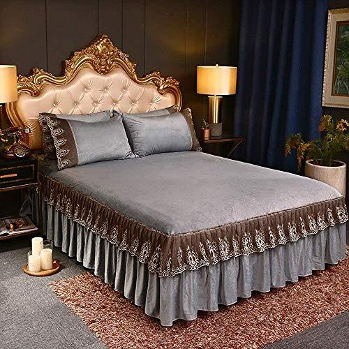 Bett Rock Anzug 3-teiliges Set Spitzenbett Rock Ruffle BettSpread Set Einbau Bett...