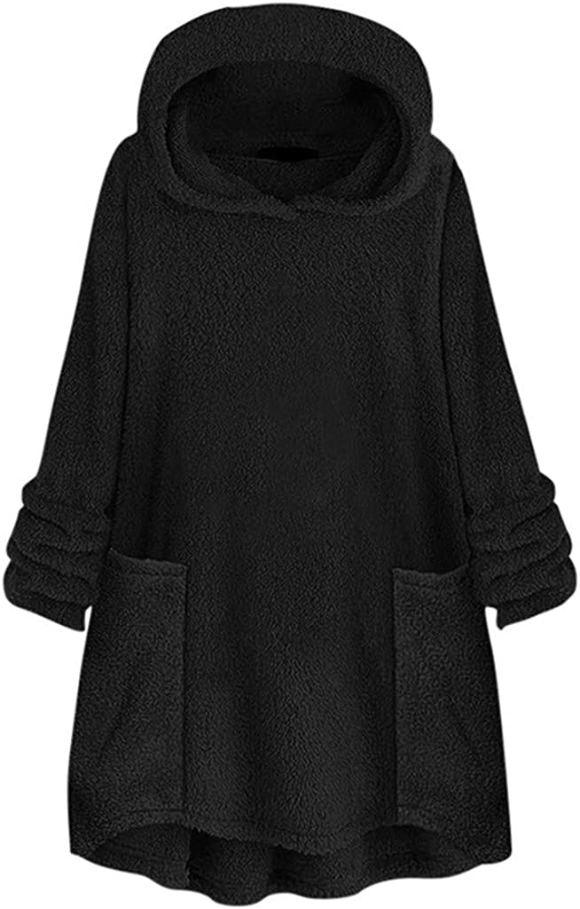 aihihe Womens Sherpa Pullover Plus Size Faux Fur Sweatshirts Hoodies Button Down Oversized Fuzzy Fleece Coats Jackets