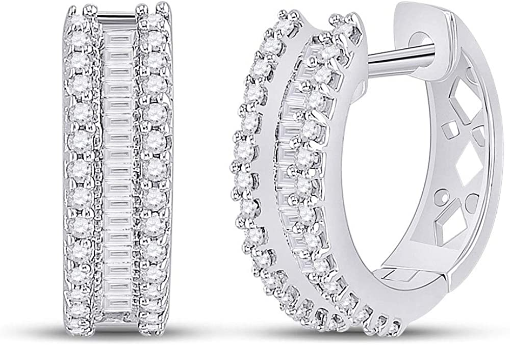 10kt White Gold Womens Round Baguette Popular brand in the Inexpensive world Hoop Diamond 1 2 Earrings