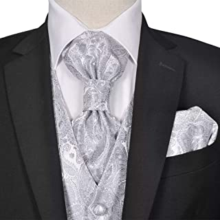 Men's Paisley Wedding Waistcoat Set Size 50 Silver