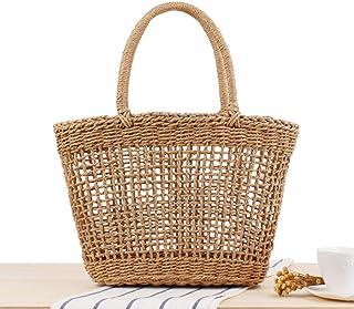 GSERA Handgemachte Damenhandtasche Bohemian Hollow Straw Bag Weben Strandtaschen Female Mesh Tote Net Bag Basket Tote