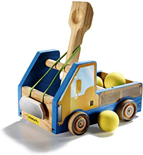 Stanley Jr DIY Wood Catapult Toy Trucks for Kids - Easy to Assemble Model Truck Kit - Catapult Craft Kit - Wooden Catapult Launcher Kit - Parts, Paint & Decals Included
