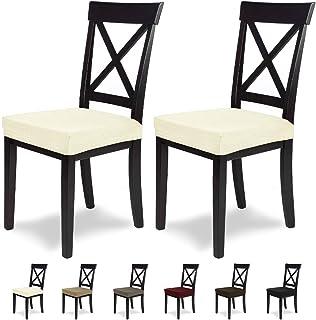 SCHEFFLER-Home MIA Microfibra 2 Fundas para Asiento de sillas, Estirable Cubiertas, Funda con Banda elástica, Marfil