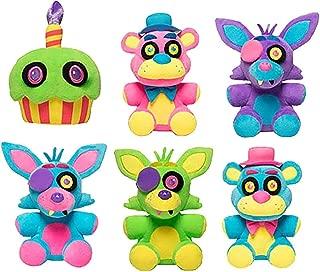 Funko Five Nights at Freddy's Cupcake Neon, Foxy Blacklight Blue, Foxy Blacklight Purple, Freddy Blacklight Pink, Foxy Neon, Freddy Neon. Includes Blizy Maze Pen.