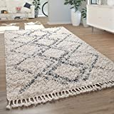 Paco Home Tapis Salon Shaggy Poils Longs Moderne Carreaux Losanges Motif Crème Bleu, Dimension:160x230 cm