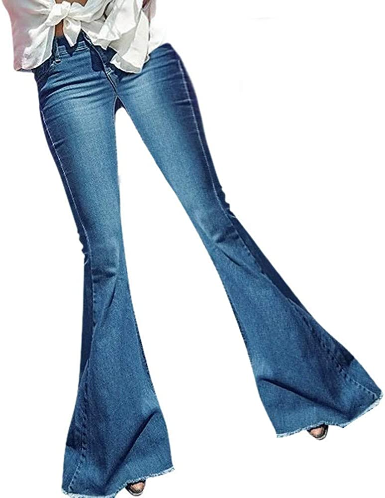 Forwelly Plus Size Flare Jeans for Women Fashion Slim Fit Mid Waist Trousers Solid Long Denim Pants with Pocket S-3XL