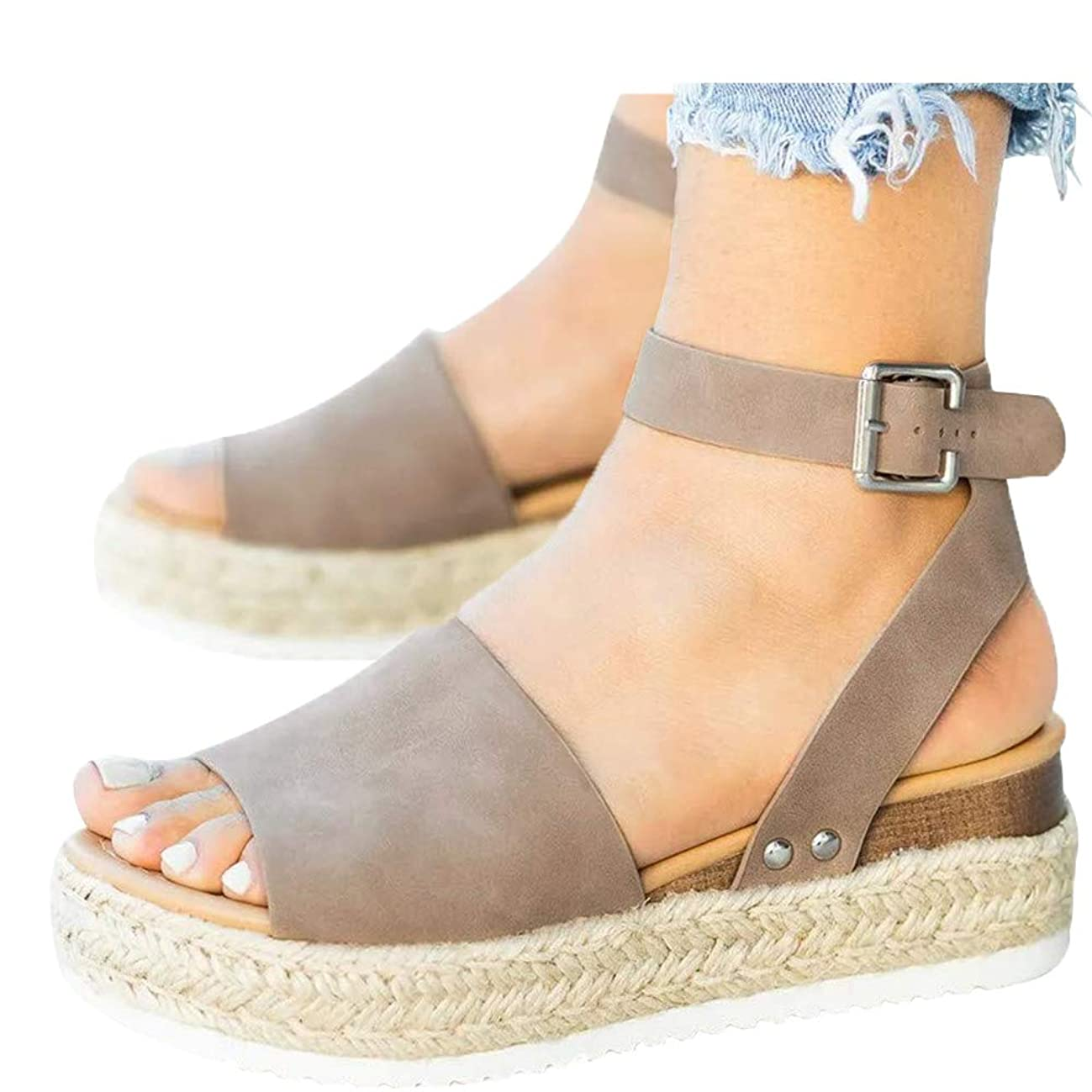Athlefit Women's Platform Sandals Espadrille Wedge Ankle Strap Studded Open Toe Sandals