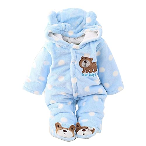 987ad13c0b853 Newborn Unisex Baby Winter Jumpsuit Hooded Romper Fleece Onesie All in One  Snow Suit Outfits