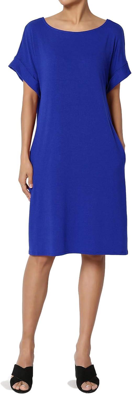 TheMogan S~3XL Rolled Short Sleeve Pocket Boxy Relaxed Jersey Midi T-Shirt Dress