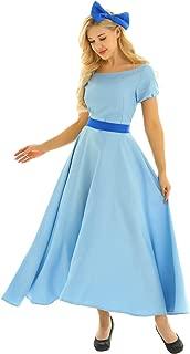 DAZCOS Girls Wendy Marvell Cosplay Costume Kids Halter Sweet Plaid Dress