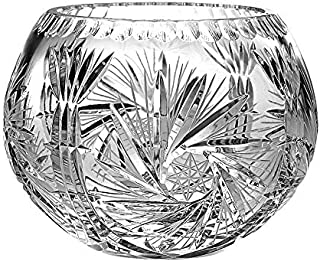 Barski European Hand Cut - Crystal Rose Bowl - Pinwheel Design 5