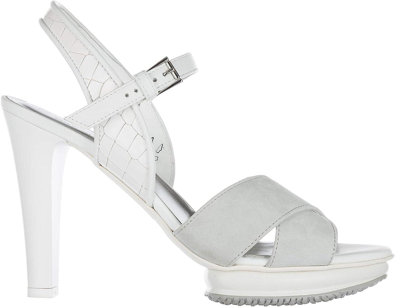 Hogan Women's Leather Heel Sandals Grey