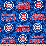MLB Fleece Chicago Cubs Blue/Red, Fabric by the Yard