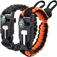 Paracord Bracelet (2 Pack) - Adjustable - Fire Starter - Loud Whistle - Perfect for Hiking, Camping, Fishing and Hunting -...