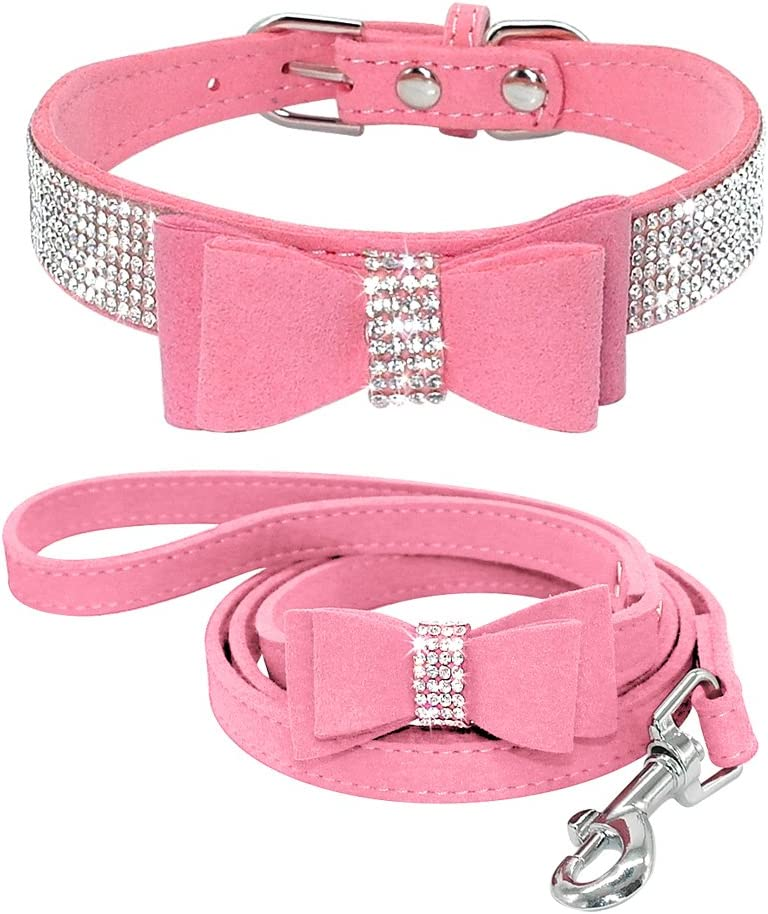 Beirui Bling Soft Leather Dog SEAL limited product Cat Rhinest Popular brand in the world Collar Leash Set -