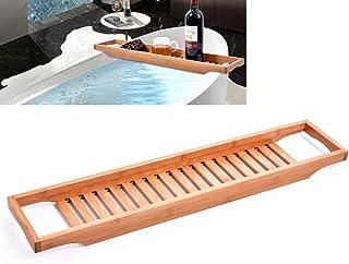 OUNONA Natural Bamboo Wooden Bathtub Caddy Tray with Rails Ideal Shower Organizer Rack for Bathroom