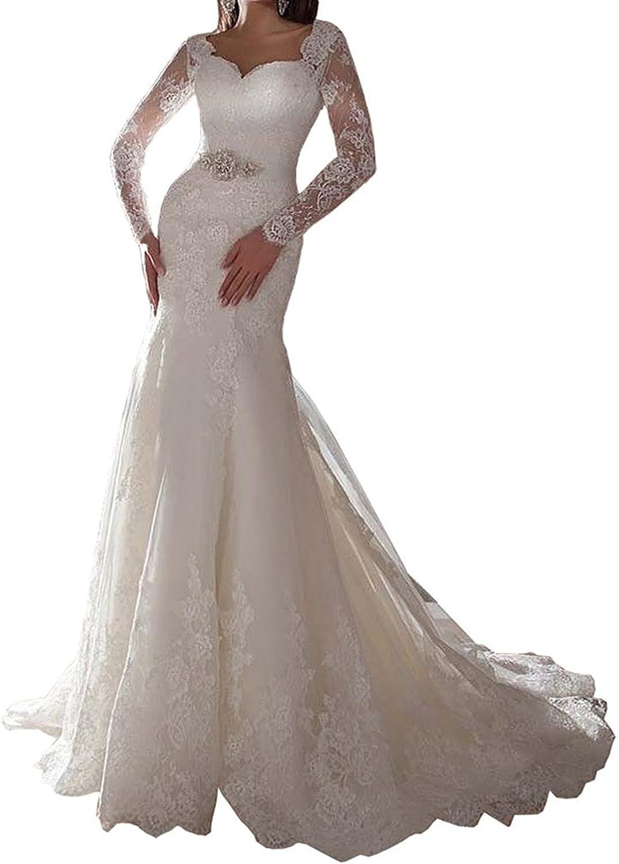Weddinglee Wedding Dresses 2017 for Bride Womens Lace Mermaid Long Sleeves Bridal Gowns