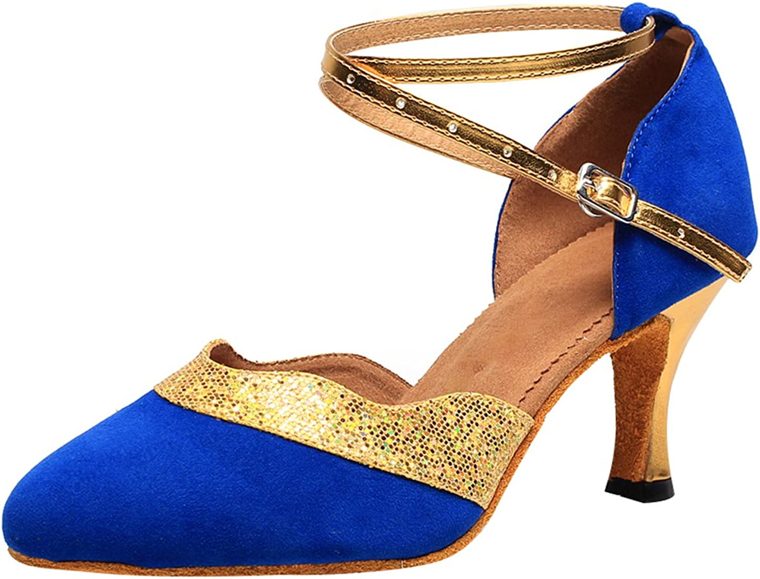 ABBY Products Womens Practice Latin Professional Dance shoes 2 in Closed Toe Ankle Strap 7119 bluee(2.4IN) US Size7.5