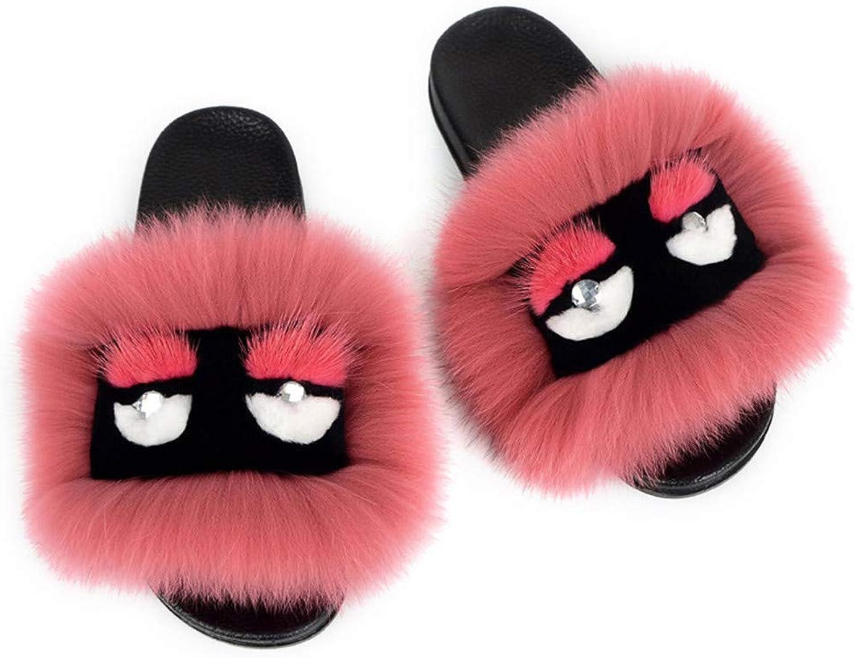 RTBQ.F Monster Fluffy Animal Slippers Fox Fur Sandals Flat Soft Indoor Flip Flop Women Cute shoes