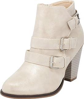 Cambridge Select Women`s Buckle Strap Block Chunky Heel Ankle Booties