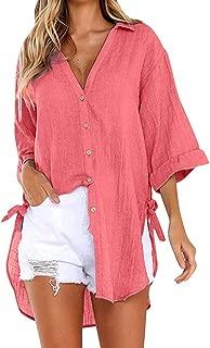 Womens Loose Blouses Early Autumn Cotton Linen Button Down Long Shirt Dress Roll Up Sleeve Casual Work Plain Tops Shirts