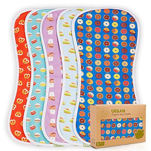 Organic Burp Cloths for Baby Boys and Girls - 5-Pack Ultra Absorbent Burping Cloth, Burp Clothes, Newborn Towel - Milk Spit Up Rags - Burpy Cloth Bib for Unisex, Boy, Girl - Burp Cloths (Sweet Treats)