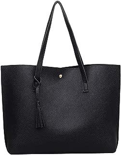 Women's Large Capacity Handbag Simple Wear-Resistant Solid Color Tote Bag