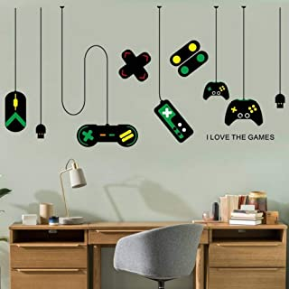 Sichbjyd Game Console Controller Decorative Chandeliers Wall Stickers Gamer Bedroom Internet Cafes Study Computer Desk Background Sticker