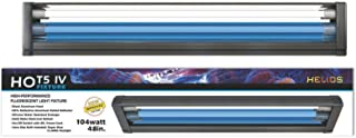 Helios HO T5 Dual Aquarium Light Fixture & 2X HO T5 Lamps 11000K Day & Blue Marine Fish