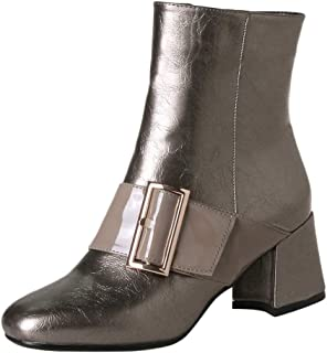 Aubbly Women's Ankle Ladies Fashion Sport Shoes Winter Non-Slip Casual Outdoor Side Zipper Thick High Heel Boots
