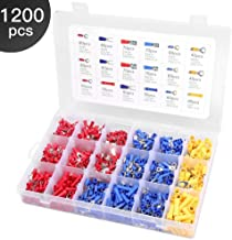 Eventronic 1200pcs Wire Connectors, Insulated Electrical Wire Terminals Wire Crimp Connector with 18 Size Assortment Electrical Terminal Kit
