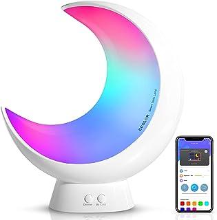 چراغ رومیزی هوشمند ، چراغ کوچک ECOLOR RGB APP Control ، چراغ کنار تخت با حالت صحنه و حالت موسیقی ، چراغ های لمسی نور سفید کم نور برای اتاق خواب و اتاق نشیمن