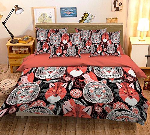 Bettwäsche-Set mit 3D-Tiger- und Fuchs-Motiv, 81 Kissenbezüge, Bettbezug-Set für Einzel-, Queen- und King-Size-Betten