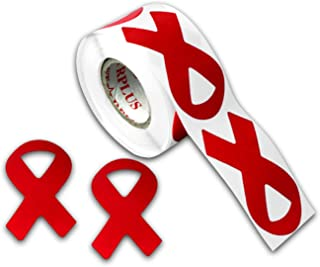 Red Ribbon Awareness Stickers (1 Roll - 250 Stickers)