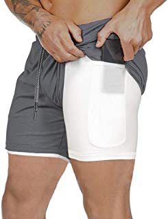 Men Running Shorts with Zipper Pockets 2 in 1 Quick-Drying Breathable Casual Fitness Shorts with Liner