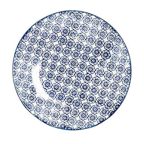 Petite assiette à gâteau/dessert ornée de motifs - 180 mm - imprimé fleur bleue