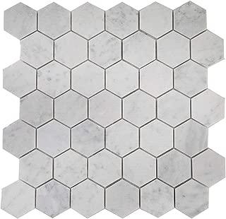 Diflart Italian White Carrara Marble Mosaic Tile Honed 5 Sheets/Box (2
