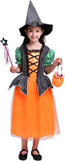 Girls Witch Hat Costume Halloween Romper Pumpkin Dress Outfits Set Cosplay