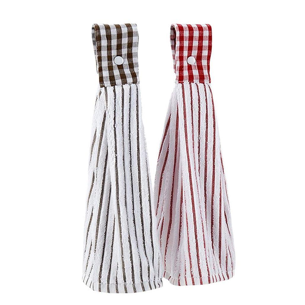 テレマコス買い物に行くショット吊り下げタオル、キッチンタオル、スーパープラッシュと吸収性、吊り下げループ付き綿100%の食器用タオル、キッチンと家庭用に最適、2個