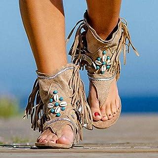 Sandalias con Flecos de la Moda de Las Mujeres de Sandalias de Verano Sandalias de Playa Sandalias Planas Bohemias