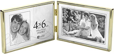 Malden International Designs Simplicity Bright Metal Hinged Picture Frame, Double Horizontal, 2-4x6