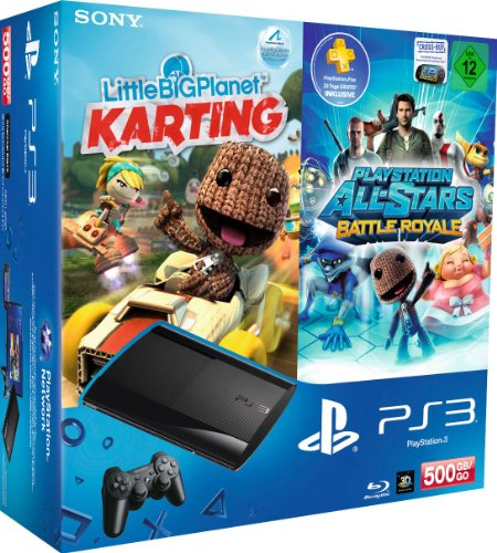 PlayStation 3 - Konsole Super Slim 500 GB (inkl. DualShock 3 Wireless Controller + LittleBigPlanet Karting + PlayStation All-Stars Battle Royale)