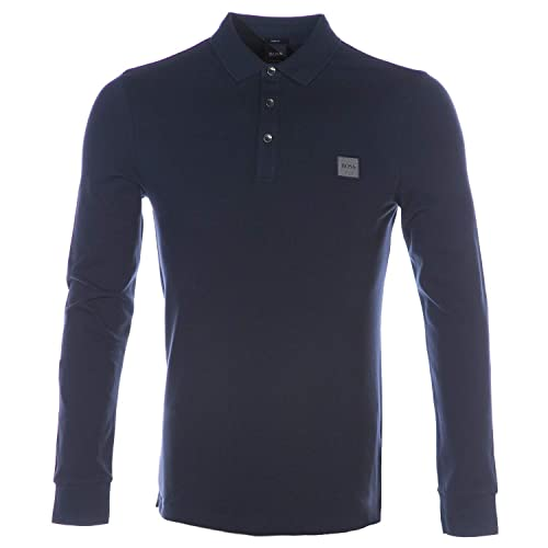 af32cf4596a BOSS Men s Long Sleeve Passerby Polo Shirt Navy XL