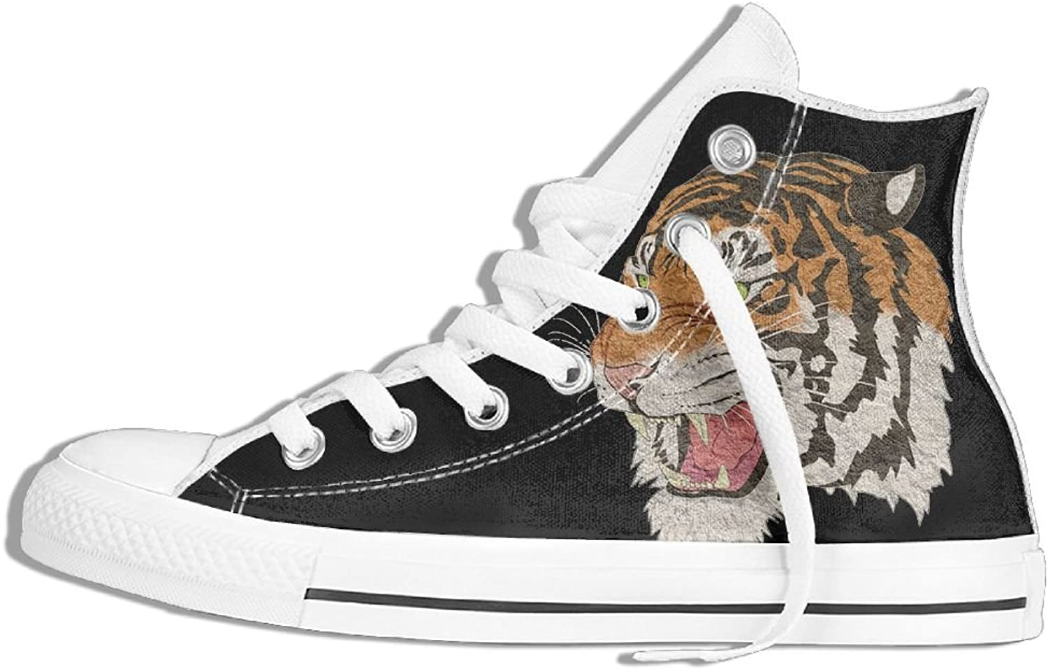 Unisex High Top Sneakers shoes Tiger Round Toe Anti-slip Walking Canvas Trainers shoes
