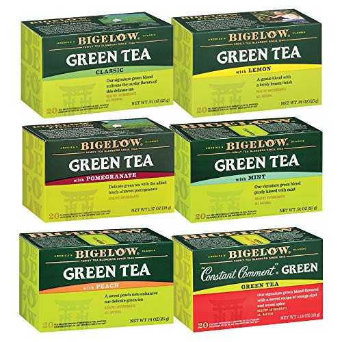 Bigelow Green Tea 6 Flavor Variety Pack, 20 Count Box (Pack of 6) Caffeinated Green Teas, 120 Tea...
