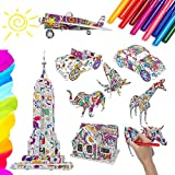 Showvigor 3D Coloring Puzzle Set, 9 Models with 10 Pen Markers, DIY Color Painting Jigsaw Puzzle Birthday Gifts for Kids, Girls, Boys, Toys for Family Games, Decoration for Children's Room