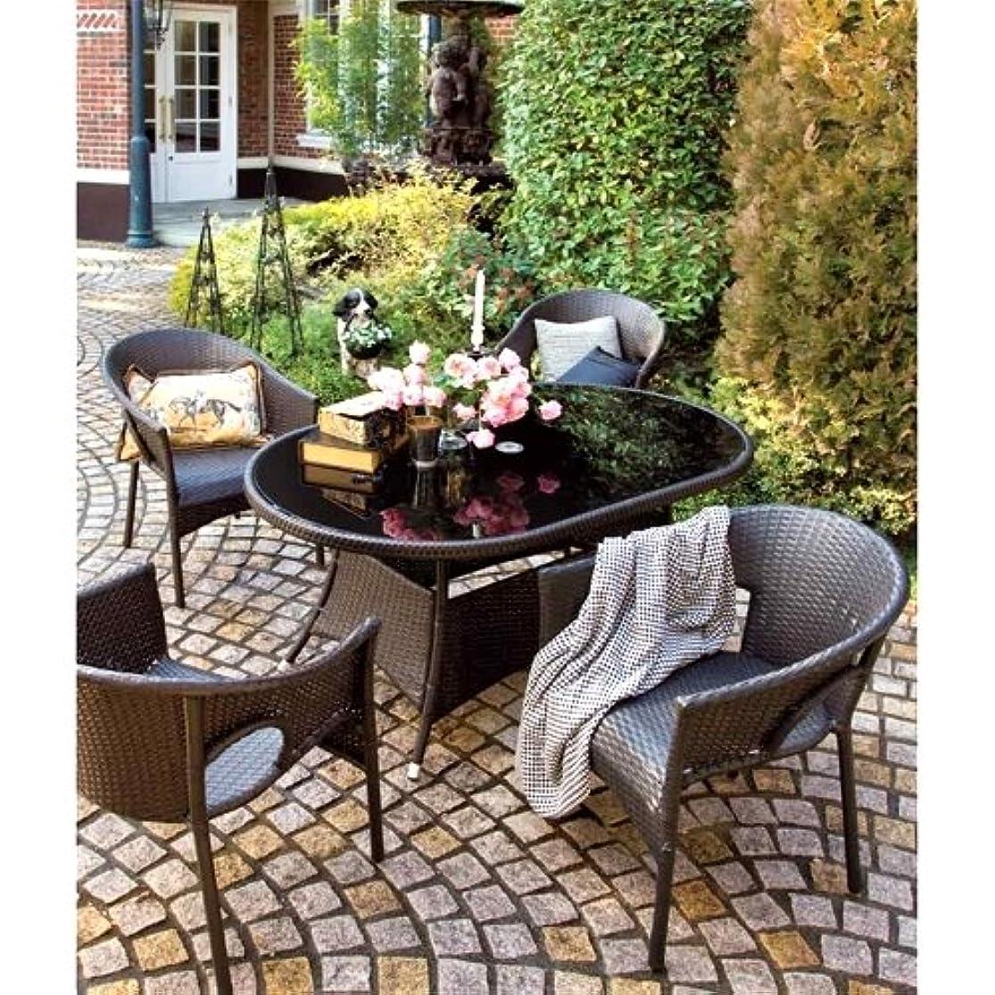 ブレス発音誕生日高級人工ラタン ガーデンチェア テーブル 5点セット ダークブラウン 人工ラタン ウィッカー ガーデンファニチャー 13BT-S5D
